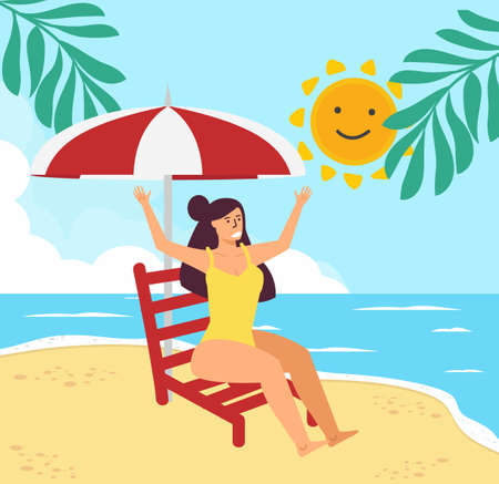 Girl on beach with deck chair  Summer background