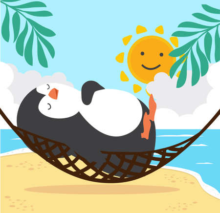 Cute penguin sleeping in hammock  with Summer  Beach 矢量图像