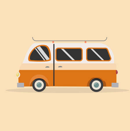 orange Bus  Vector car Illustration  eps10 矢量图像