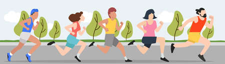 Runners group men and women  running outdoors concept
