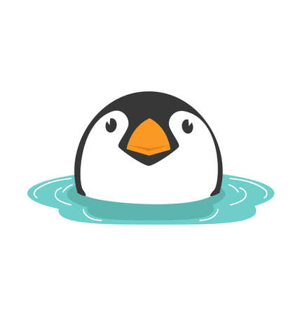 Head baby Penguin in water vector eps10