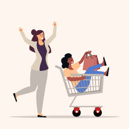 Woman push shopping cart  sitting woman vector