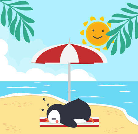 Cute penguin with Summer  Beach background eps10 矢量图像