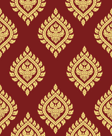 Line thai art seamless pattern background vector