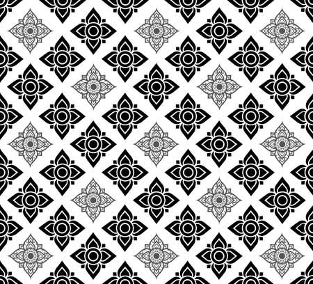 Line Thai Fabric tradional seamless pattern background vector