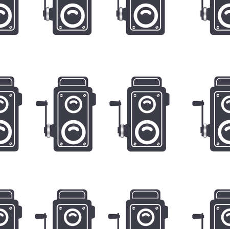 retro camera old sign seamless pattern background