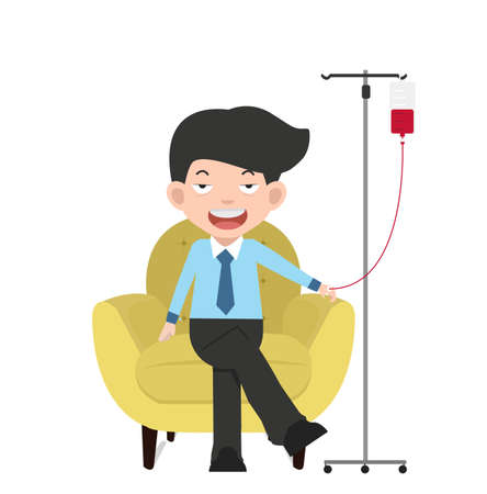 Patient businessman with intravenous saline solution cartoon
