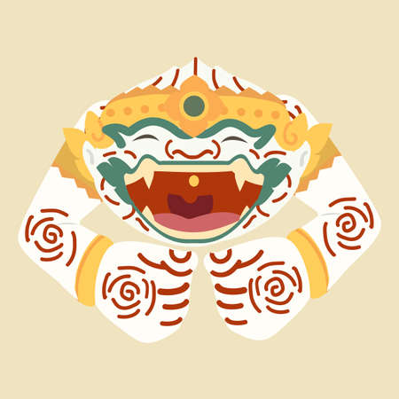cartoon Hanuman sleepingThai character vector 向量圖像