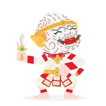 Hanuman Thai character cartoon vector sign