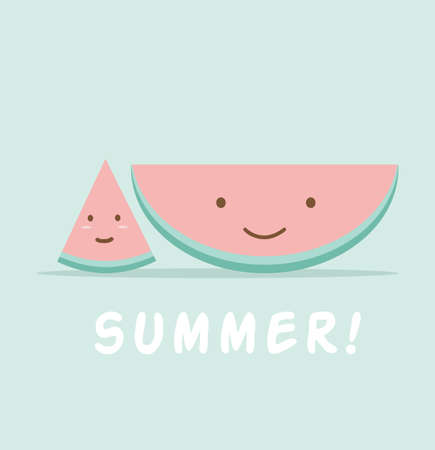Funny watermelon cartoon character sign vector