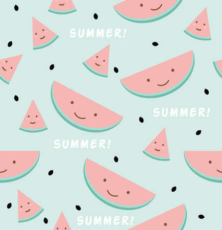 Funny watermelon  sign seamless pattern background