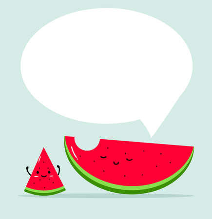 Funny watermelon cartoon with bubble sign