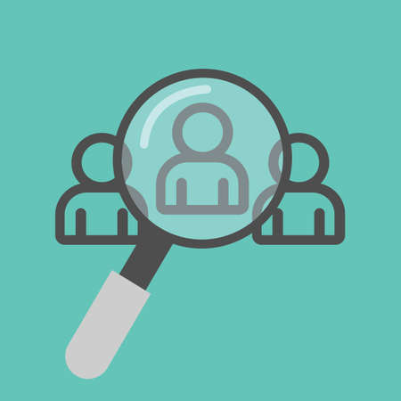 Magnifying glass with people Search vector icon