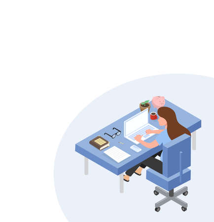Women sitting at Office Desk with Documents 向量圖像
