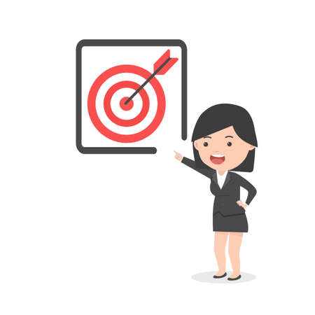 businesswoman pointing to  target red concept cartoon