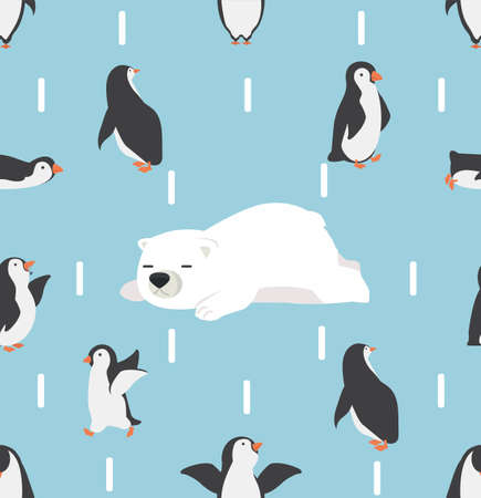 penguins characters with white bear  pattern background
