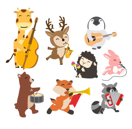 Set of animals cheerful playing music cartoon 矢量图像