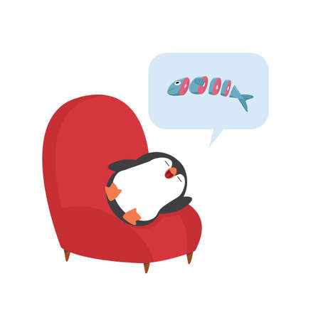 penguin sleep on sofa with bubble cartoon 向量圖像