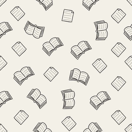 doodle book vector seamless pattern background