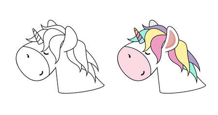 Unicorn head Color  outline vector Design for children 矢量图像