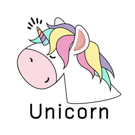 Cute Unicorn head  Vector Design eps10