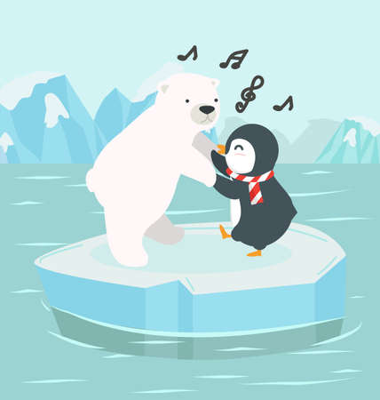 polar bear with penguin on an iceberg at North pole Arctic background 矢量图像
