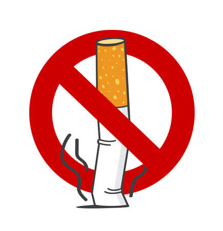Cigarette butt No Smoking Sign concept