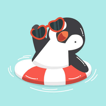 Cute Penguin swimming inflatable ring cartoon