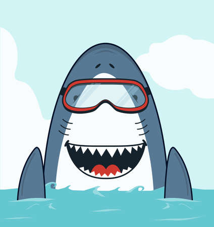 Cute Shark swimming open mouth flat vector