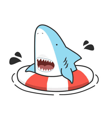 Cute shark with open mouth swimming inflatable ring  eps10 矢量图像