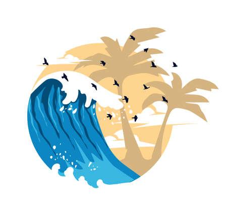 Summer Waves Flat Design vector