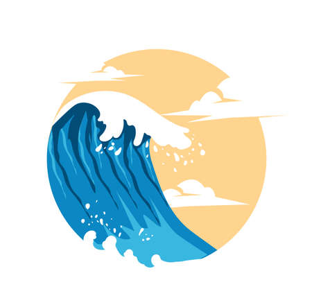 Summer Waves Background Flat Design vector
