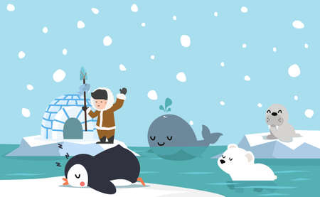 North pole arctic flat design background vector
