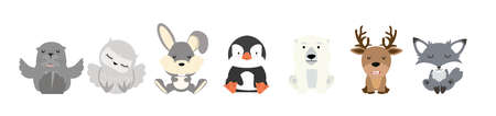 Cute animal Arctic Cartoon characters  set flat 矢量图像