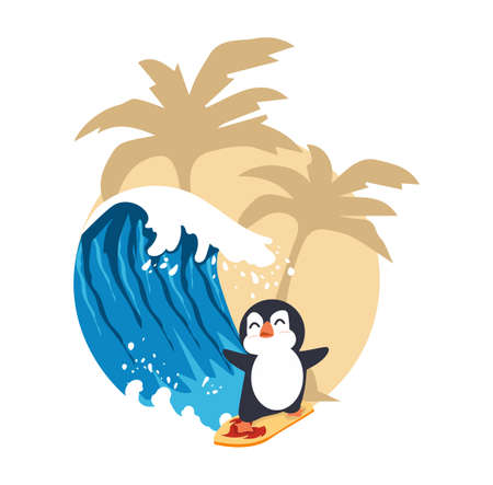 Cute penguin surfing big wave cartoon