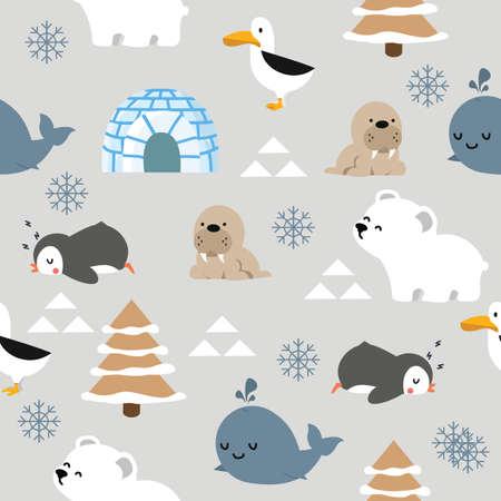 Cute animal arctic cartoon  seamless pattern background