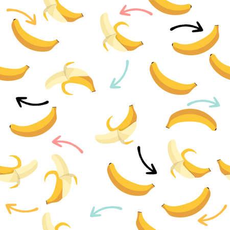 Bananas fruit with arrow seamless pattern