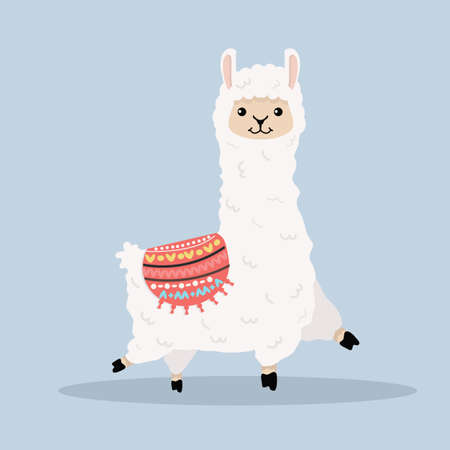 Cute alpaca  fluffy cartoon vector