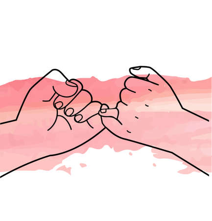 Two hands making Pinky swearing promise vector Illustration