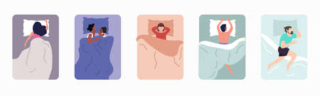 Sleeping Poses Set  flat isolated vector concept