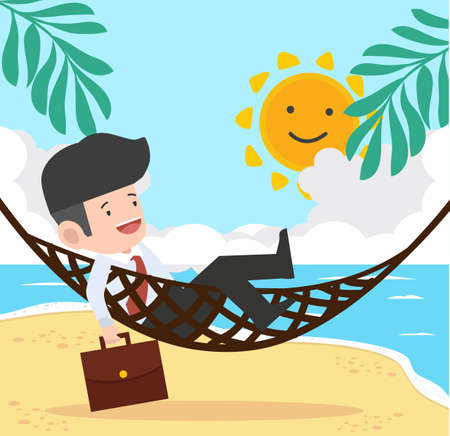 businessman relax in hammock  with Summer  Beach concept