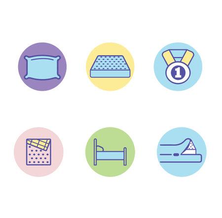 Bedroom linen flat line icons set sign