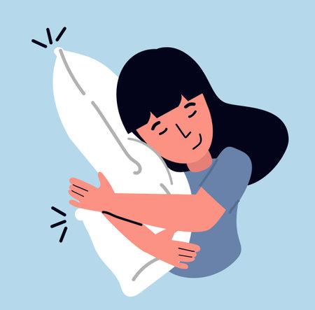 Sleeping woman hugs a pillow cartoon