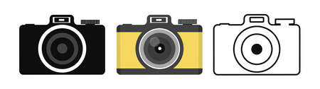 Camera icon in flat style set
