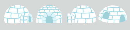 Igloos ice house in flat design set