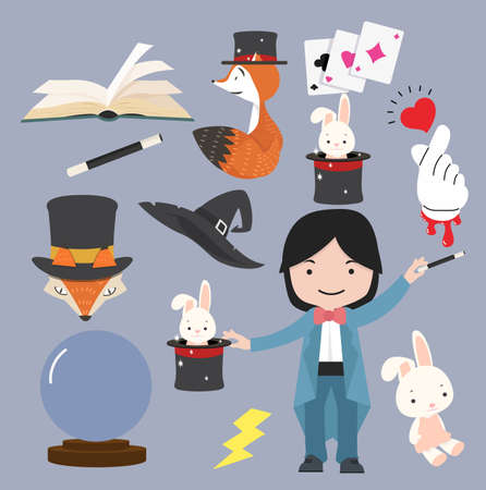 Collection of Magic Objects Cartoon Style Vector  set
