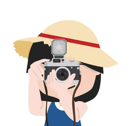 Small girl with camera is taking pictures with straw hat cartoon