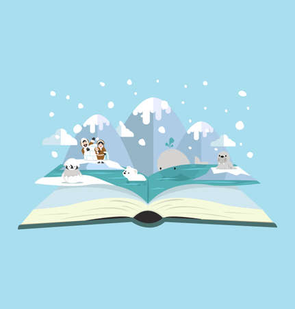 Open book of North pole animal background Illustration