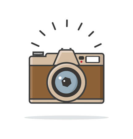 Flat style vintage camera vector sign icon