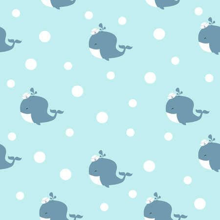 Cute little whale with hat seamless pattern background